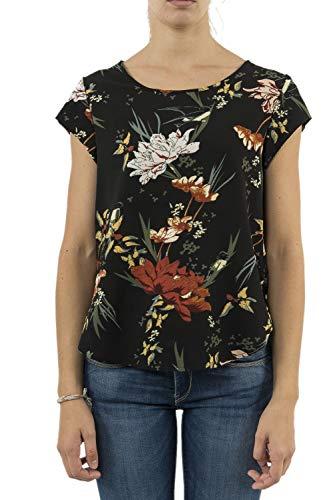 Only Onlvic SS Top Noos Wvn Blusa, Multicolor (Black AOP: Flower AOP), Large (Talla del Fabricante: 40) para Mujer
