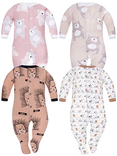 Sibinulo Nino Nina Pijama Bebé Pelele de ABS Pack de 4 Osos Rosados Ositos de Peluche Beige Erizos Prado Beige 92(18-24 Meses)
