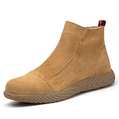 HMAKGG Hombre Mujer Zapatillas de Seguridad Deporte con Punta de Acero Zapatillas de Ligeras Running Transpirables Cómodas Correr para Zapatos de Trabajo,Marrón,45 EU