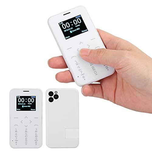 Plyisty Mini teléfono móvil, ultradelgado, Ligero, de Bolsillo, para Estudiantes, 400 mAh, Tiempo de Espera de 72 Horas, Regalo de cumpleaños para niños y Estudiantes(Blanco)