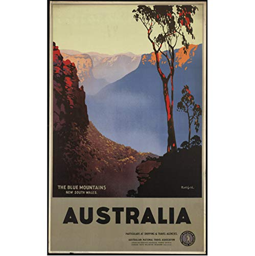 danyangshop Australien Reise Vintage Tourismus Poster Blue Mountains Klassische Leinwand Gemälde Vintage Wandplakate Aufkleber Home Decor Geschenk A334 (50X70Cm) Ohne Rahmen
