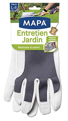 Mapa - Entretien Jardin - Gants de Jardinage En Cuir 100% Fleur de Chèvre Résistant - Textile Confortable avec Dos Aéré - gris (blanc) Taille 8/L