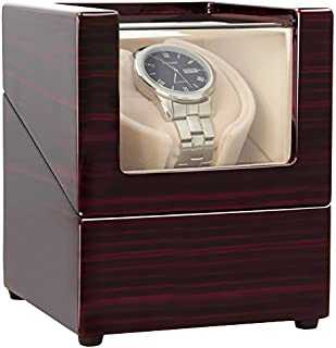 [Upgrades]CHIYODA Single Wooden Watch Winder with Quiet Motor-12 Rotation Modes