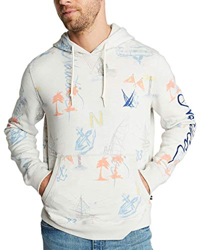 Nautica Men's Blue Sail Classic-Fit Limited-Edition Printed Logo Hoodie, 2X-Large, Frost Heather Blue Classic Logo Hoody Sweatshirt