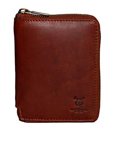MATADOR® Granada Echt Leder Geldbörse Damen Portemonnaie Herren Geldbeutel Reissverschluss mit TüV geprüftem RFID Schutz & NFC Blocker in Vintage Braun