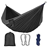 BOBOLINE Hammock Camping Single & Double with Mosquito/Bug Net and Tree Straps & Carabiners | Easy Assembly |Lightweight Portable Parachute Nylon Hammock for Camping, Backpacking,Travel