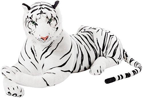 Brubaker XXL Tiger Kuscheltier Weiß 110 cm - liegend Stofftier Plüschtier