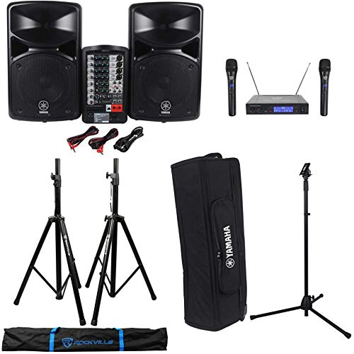 Yamaha StagePas 400i Portable PA Powered System w/2x8' Speakers+Case+Stands+Mics