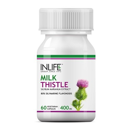 INLIFE Milk Thistle 80% Silymarin Liver Cleanse Detox Support Supplement 400 mg - 60 Veg. Capsules