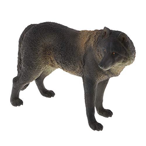 D DOLITY PVC Wolf Dekofigur Statue Wildtiere Figuren Tierfiguren Tiermodell für Innen -Außenraum - Schwarz