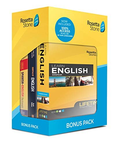 Rosetta Stone Learn English Bonus Pack Bundle| Lifetime Online Access + Grammar Guide + Dictionary Book Set| PC Mac Keycard