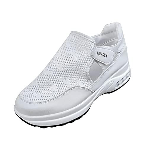 URIBAKY - Scarpe da ginnastica da donna, con zeppa in rete, alla moda, traspiranti, da corsa, per attività all'aria aperta, corsa, fitness, traspiranti, Bianco (bianco), 38 EU