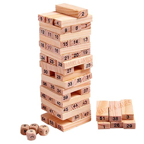 HARRY & JAMES® Zenga Wooden Building Blocks Puzzle 54 Pcs Challenging 4pcs Dice Wooden Zenga Stacking Game Maths,Tumbling Tower 54 Pcs with 4 Dices Game for Adults and Kids