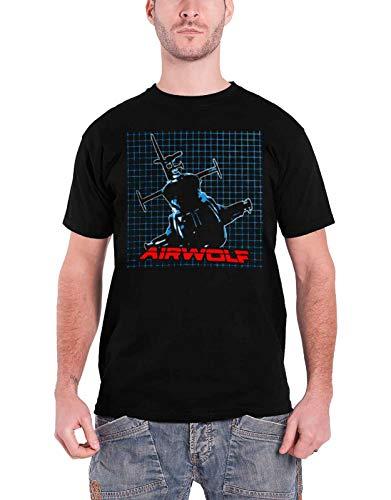 Airwolf T Shirt Pattern Logo Official Mens Black