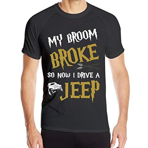 Mon Balai s'est cassé Alors Maintenant Je conduis Une Jeep T-Shirt à séchage Rapide pour Hommes T-Shirt Militaire Hommes Camping en Plein air Chemises de randonnée à Manches Courtes