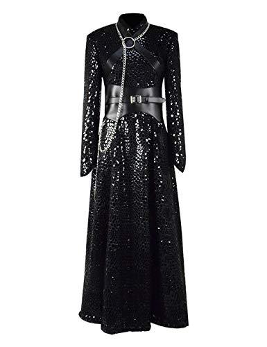 Sansa Stark Cosplay Costumes Premium Long Sleeve Dress Halloween,GOT Theme Party for Women (S, Black)