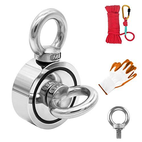 Magnete Stark,Doppelseitig Magnet fishing,120kg Haftkraft Magnetfischen Super Starker Magnet,N52 Magnet Angel 48mm Neodymium Topfmagnete