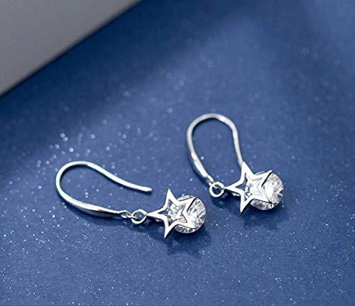 WOZUIMEI S925 Pendientes de Estrella de Plata Estilo de Arte Coreano Femenino Solo Diamante Estrella de Cinco Puntas Gancho de Oreja Corto FemeninoUn par