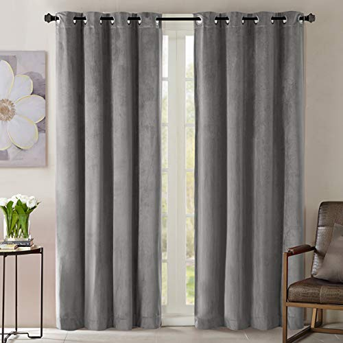 GIGIZAZA Velvet Grey Thermal Curtain 84 inch Long ,Black Out Darkening Curtains for Living Room Bed Room ,Set of 2 Panel Light Blocking