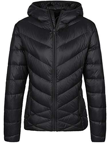 Wantdo Women's Hooded Down Jacket Packable Lightweight Puffer Outwear Black S
