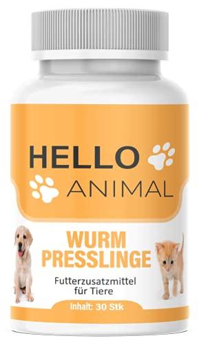 NEU: HelloAnimal® Wurm Presslinge Kur für Tiere wie Katzen, Hunde, Kaninchen und Geflügel - vor, während und nach Befall, natürliches Mittel für Magen und Darm bei WURMBEFALL