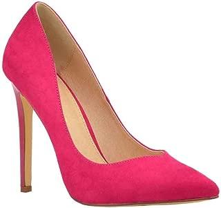 Olivia Jaymes Women's Dress Pump | Pointy Toe Curved V Cut | Slender Stiletto Thin Heel Slip-on Pumps