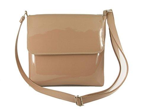 LONI Damen Cool Synthetik Lackleder Umhängetasche Mittelgroße Handtasche