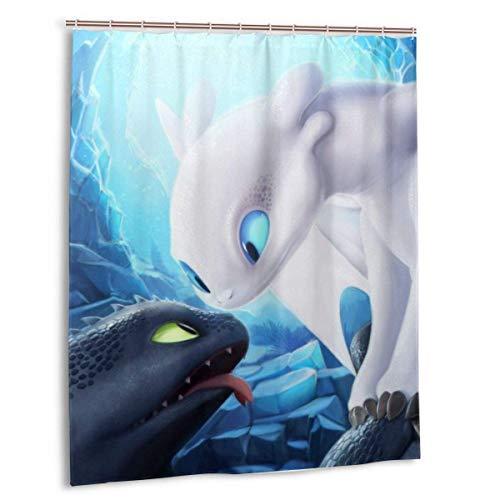 gdingxiantengsubaihuoshang Cartoon So trainieren Sie Ihren Drachen Duschvorhang Badezimmer Dekoration wasserdichte Duschvorhänge mit 12 Kunststoffhaken 60 X 72 Zoll