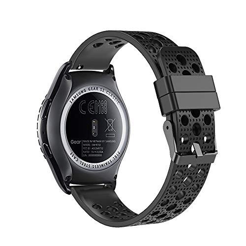 Fit-power - Correa de repuesto para reloj inteligente, de 20 mm, compatible con Samsung Gear Sport, Samsung Gear S2 Classic, Huawei Watch 2 Watch y Garmin Vivoactive 3, Negro transpirable.