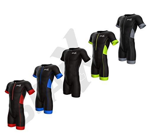 Sparx Elite Aero Herren Triathlon-Anzug, kurzärmelig, Triathlon-Anzug, Schwimmen, Fahrrad, Laufen, Rot, Größe M