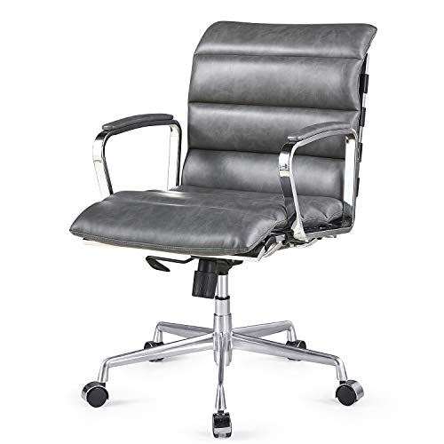 Cherry Tree Furniture Kingston Vintage Effect Faux Leather Office Chair with Chrome Frame & Aluminium Base (Grey PU)