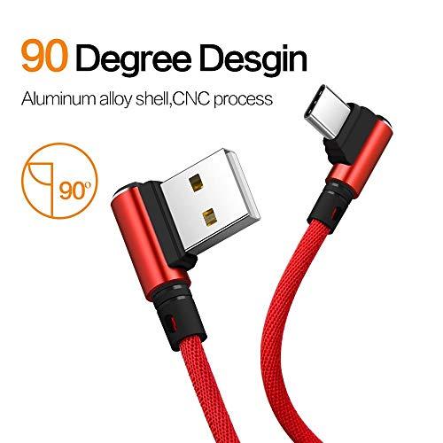 i-Tronixs (Rouge) 2 Mètres, Angle Droit 90 degrés [Forme en L] Câble de Charge tressé en Tissu...