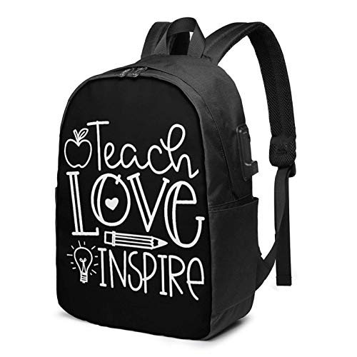 Hdadwy Teach Love Inspire USB Backpack 17 Inch Laptop Backpack Business Travel College School Backpack