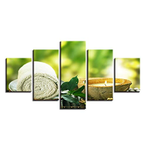 XXSCZ 5 Canvas foto's Canvas Afbeeldingen Home Decor HD Prints 5 stuks handdoek blad kaars schilderijen Spa Massage Poster Modulaire Woonkamer muurkunst Frame 30 x 40 30 x 60 30 x 80 cm met frame.