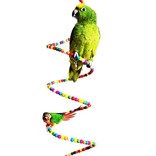 Keersi - Colorida escalera que gira para jaula de pájaro, loro, guacamayo, periquito, cacatúa, periquito, agapornis, Juguete para jaula