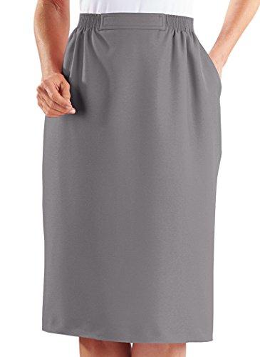 Alfred Dunner Skirt – Midi Length Flat Front Women's Skirt w/Pockets Gray 14 Petite