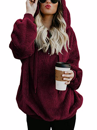 Oversized Sweatshirts for Women Athletic Womens Sherpa Hoodie Fluffy Women's Hoodies Pullover with Pockets Burgundy Medium