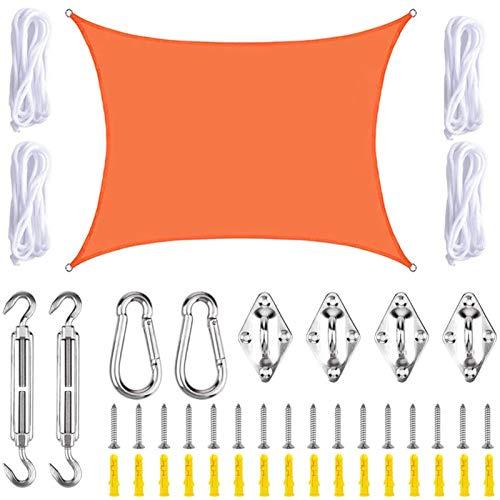 THJ Sonnensegel, UV-Schutz, wasserdicht, Sonnensegel für Außenbereich, Terrasse, Garten, mit Seilen, rechteckig (3 m x 4 m, orange)
