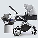 YXCKG Silla de Paseo de bebé para recién Nacidos y niños pequeños Compacto Carro de bebé Individual Silla de Paseo para niños pequeños Cochecito reposabrazos con Cesta (Color : Gray)