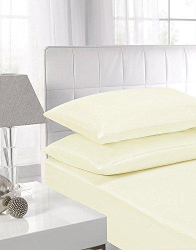 Highliving - Sábana encimera (100% algodón Egipcio de 200 Hilos), Color Blanco, Crema