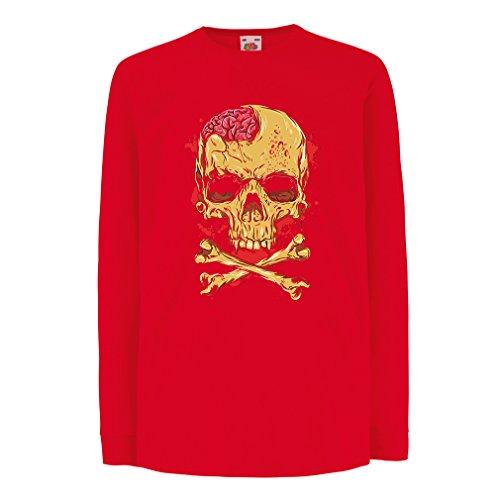 Camisetas de Manga Larga para Niño La Calavera (9-11 Years Rojo Multicolor)