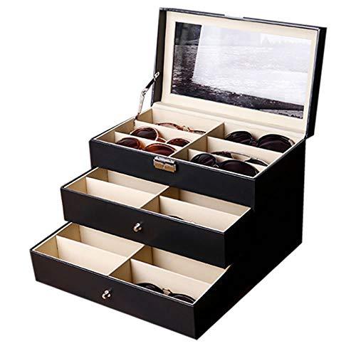 メガネ サングラス 収納ケース 18本用 ボックス コレクションケース 二段式 整理 保護 インテリア お洒落 贈り物 MEGASANSHU-18