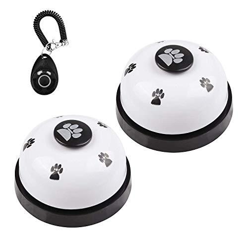 DIVISTAR Hundeglocke, Set mit 2 Glöckchen für Hunde, Welpen, Haustiere, Türklingel mit Rutschfester Unterseite aus Gummi + 1 Stück Hundetraining Clicker mit Handgelenkschlaufe