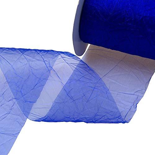 Deko und Band Crash Organza Bleu Roi–Largeur 80mm–Rôle 20m–6808072CD-R 80