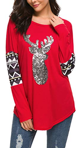 Women 3X Plus Size Christmas Shirts Long Sleeve Round Neck Casual Sparkly Reindeer Tunic Tops Blouse (3XL,Red)