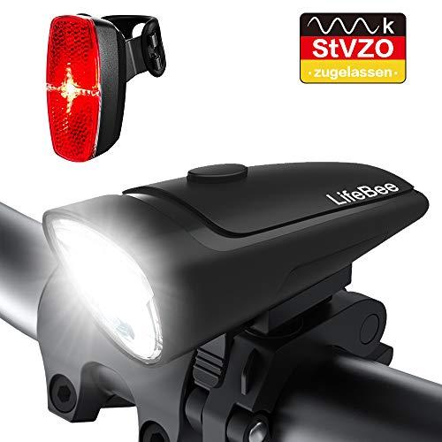 LED Fahrradlicht, LIFEBEE Batterie Fahrradbeleuchtung Fahrradlampe Fahrradlicht Vorne Rücklicht Set StVZO Zugelassen, Wasserdicht Batterieleuchtenset für Fahrrad, 2 Lichtmodi, Batterie Nicht inklusive