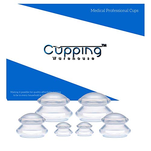 Cupping Warehouse TM Supreme DEEP PRO- 6 Cup Set - (3 Sizes) Professional Medical Anti Cellulite Cup - A Cellulite Massager Treatment- Silicone Cupping Therapy Sets for Cellulite Treatment