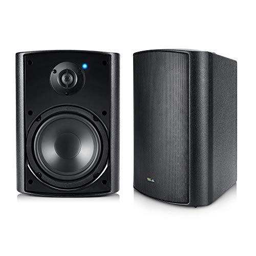 Outdoor Wireless Speakers, 5.25' Bluetooth Weatherproof Speakers for Deck Patio Backyard, Pair (Black)