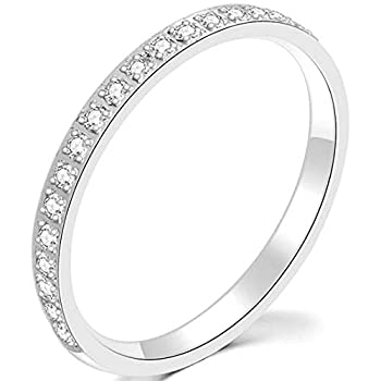 3mm Stainless Steel Half Eternity Wedding Band Stackable Ring  Silver 7