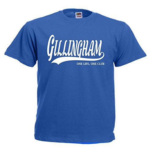 All About The Print Gillingham Football Gift - one Life one Club Idea T-Shirt FC Present top F47 (Adult XXL, Blue)